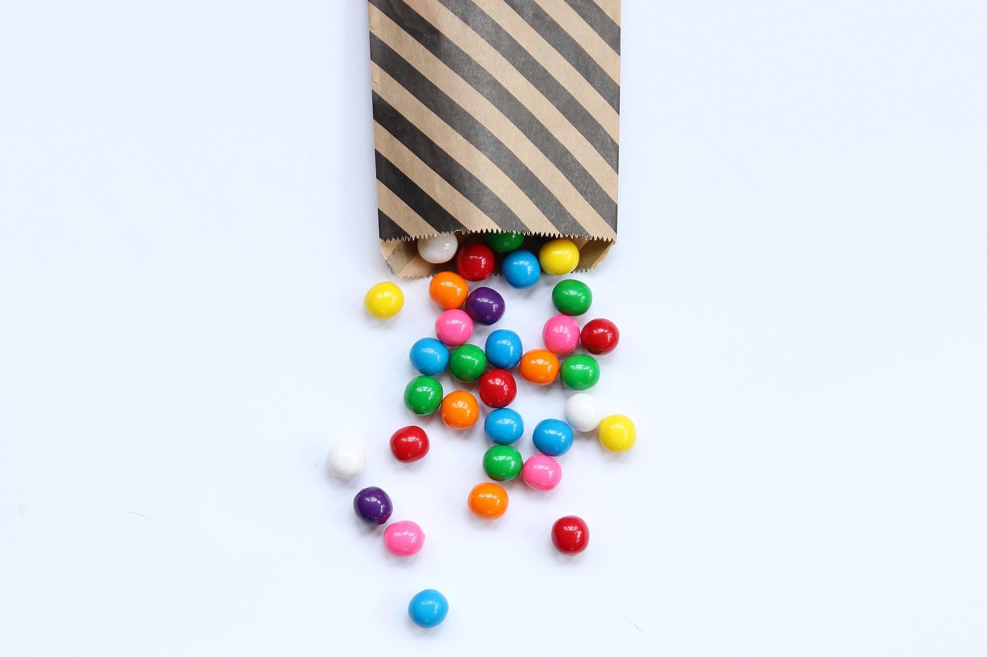 Bubblegum balls spilling out of party bag
